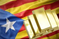 Λάμποντας χρυσές ράβδοι στη σημαία της Καταλωνίας Στοκ εικόνα με δικαίωμα ελεύθερης χρήσης