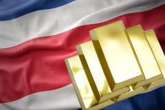 Λάμποντας χρυσές ράβδοι στη σημαία της Κόστα Ρίκα Στοκ εικόνες με δικαίωμα ελεύθερης χρήσης
