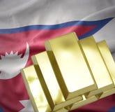 Λάμποντας χρυσές ράβδοι στη σημαία του Νεπάλ Στοκ εικόνες με δικαίωμα ελεύθερης χρήσης
