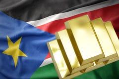 Λάμποντας χρυσές ράβδοι στη σημαία του Νότιου Σουδάν Στοκ εικόνες με δικαίωμα ελεύθερης χρήσης