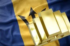 Λάμποντας χρυσές ράβδοι στη σημαία των Μπαρμπάντος Στοκ φωτογραφία με δικαίωμα ελεύθερης χρήσης