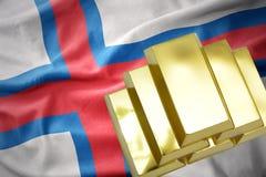 Λάμποντας χρυσές ράβδοι στη σημαία των Νήσων Φαρόι Στοκ Εικόνες