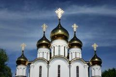 Λάμποντας χρυσοί θόλοι της εκκλησίας του Άγιου Βασίλη σε pereslavl-Zalessky στοκ εικόνα με δικαίωμα ελεύθερης χρήσης