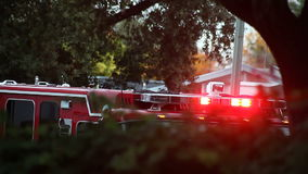 Λάμψη φω'των πυροσβεστικών οχημάτων απόθεμα βίντεο