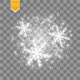 Λάμψτε άσπρο snowflake με ακτινοβολεί απομονωμένος στο διαφανές υπόβαθρο Διακόσμηση Χριστουγέννων με να λάμψει το φως σπινθηρίσμα διανυσματική απεικόνιση