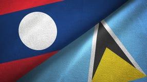 Λάος και Αγία Λουκία δύο υφαντικό ύφασμα σημαιών, σύσταση υφάσματος διανυσματική απεικόνιση
