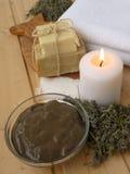 Λάσπη, κερί, ξηρά lavender και σαπούνι Στοκ φωτογραφία με δικαίωμα ελεύθερης χρήσης