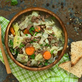 Λάχανο κραμπολάχανου, καρότο, πατάτα, Mincemeat Stew Στοκ Φωτογραφία