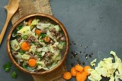 Λάχανο κραμπολάχανου, καρότο, πατάτα, Mincemeat Stew Στοκ εικόνες με δικαίωμα ελεύθερης χρήσης