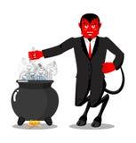 Λέβητας αμαρτωλών ψητών της Satan Δαίμονας που μαγειρεύει το μεγάλο μαύρο τηγάνι Skelet διανυσματική απεικόνιση
