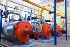 Λέβητας βιομηχανίας με τον καυστήρα αερίου Στοκ Φωτογραφία