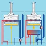 Λέβητες αερίου με τον ανταλλάκτη θερμότητας Στοκ Φωτογραφίες