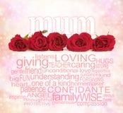 Λέξεις αγάπης για την ημέρα της μητέρας Στοκ Φωτογραφία