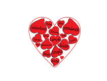 Λέξεις αγάπης μέσα στις καρδιές διανυσματική απεικόνιση