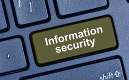 Λέξεις ασφαλείας πληροφοριών στο κουμπί πληκτρολογίων Στοκ φωτογραφία με δικαίωμα ελεύθερης χρήσης