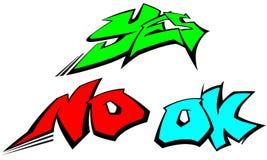 Λέξεις γκράφιτι ναι, αριθ. και εντάξει Στοκ φωτογραφίες με δικαίωμα ελεύθερης χρήσης