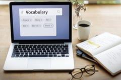 Λέξεις λεξιλογίου που μαθαίνουν μελετώντας την εξήγηση Στοκ εικόνα με δικαίωμα ελεύθερης χρήσης
