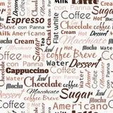 Λέξεις καφέ, ετικέττες πρότυπο άνευ ραφής απεικόνιση αποθεμάτων