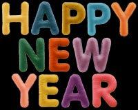 Λέξεις καλής χρονιάς που απομονώνονται στο μαύρο υπόβαθρο Στοκ εικόνες με δικαίωμα ελεύθερης χρήσης