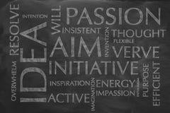 Λέξεις κλειδιά ενός προσώπου που θέλει να επιτύχει έναν μεγάλο στόχο Στοκ Εικόνες