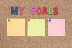 Λέξεις οι στόχοι μου με το σημειωματάριο Στοκ Εικόνα