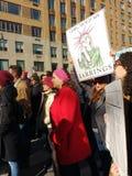 Λέξεις πάλης, άγαλμα της ελευθερίας, αστείο σημάδι, γυναίκες ` s Μάρτιος, NYC, Νέα Υόρκη, ΗΠΑ Στοκ φωτογραφίες με δικαίωμα ελεύθερης χρήσης