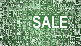 Λέξεις πώλησης Πωλήσεις προωθητικές Έννοια πώλησης καταστημάτων διανυσματική απεικόνιση