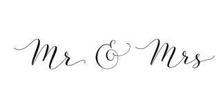 Λέξεις του κ. και κας με το ampersand Γραπτή καλλιγραφία συνήθειας του κυρίου και Missis χέρι που απομονώνεται στο λευκό ελεύθερη απεικόνιση δικαιώματος