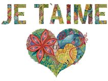 Λέξεις JE Τ AIME με την καρδιά το γαλλικό ι σας αγαπά Διανυσματικό διακοσμητικό αντικείμενο zentangle ελεύθερη απεικόνιση δικαιώματος