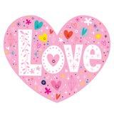 Λέξης αγάπης αναδρομική κάρτα καρδιών κειμένων τυπογραφίας γράφοντας Στοκ εικόνα με δικαίωμα ελεύθερης χρήσης