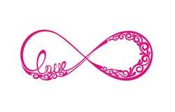 Λέξη αγάπης στο σημάδι του απείρου ελεύθερη απεικόνιση δικαιώματος