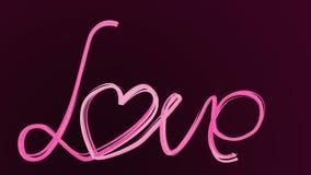 Λέξη αγάπης σχεδίων καλλιγραφίας με το χέρι Το πινέλο ζωτικότητας γράφει την αγάπη στο σκοτεινό πορφυρό υπόβαθρο Αγάπη φράσης με ελεύθερη απεικόνιση δικαιώματος