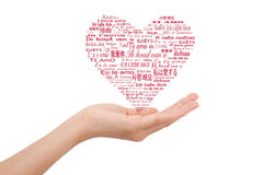 λέξη αγάπης χεριών mutil Στοκ εικόνα με δικαίωμα ελεύθερης χρήσης