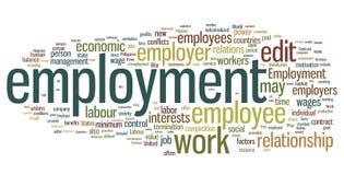 λέξη απασχόλησης σύννεφων Στοκ εικόνα με δικαίωμα ελεύθερης χρήσης