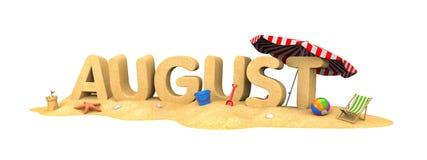 Λέξη ΑΥΓΟΥΣΤΟΥ της άμμου ελεύθερη απεικόνιση δικαιώματος
