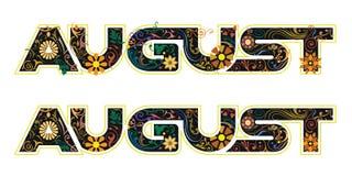 Λέξη Αυγούστου που διακοσμείται με τα λουλούδια και τα φύλλα Στοκ Εικόνες