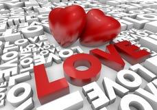 λέξη βαλεντίνων αγάπης καρδιών απεικόνιση αποθεμάτων