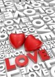 λέξη βαλεντίνων αγάπης καρδιών διανυσματική απεικόνιση