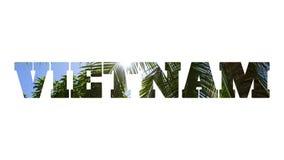 Λέξη ΒΙΕΤΝΑΜ φιαγμένο από φωτογραφία με το φοίνικα καρύδων απεικόνιση αποθεμάτων