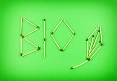 Λέξη ΒΙΟ φιαγμένη από matchsticks Στοκ εικόνα με δικαίωμα ελεύθερης χρήσης