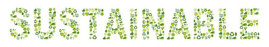Λέξη βιώσιμη που γεμίζει με τα φιλικά και βιο σχετικά εικονίδια eco Στοκ Εικόνες