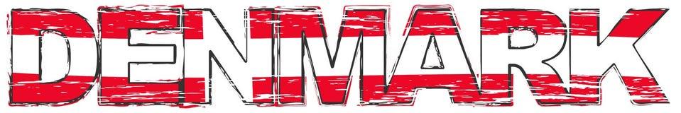 Λέξη ΔΑΝΙΑ με τη δανική εθνική σημαία κάτω από το, στενοχωρημένο grunge βλέμμα ελεύθερη απεικόνιση δικαιώματος