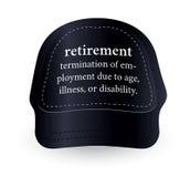 Λέξη λεξικών της αποχώρησης στο καπέλο του μπέιζμπολ Στοκ εικόνες με δικαίωμα ελεύθερης χρήσης