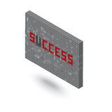 Λέξη επιτυχίας χωρίς τρισδιάστατη απεικόνιση τοίχων φραγμών του U Στοκ Φωτογραφία