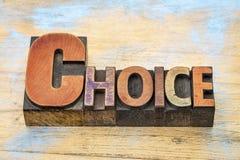 Λέξη επιλογής στον ξύλινο τύπο Στοκ Φωτογραφία