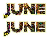 Λέξη Ιουνίου που διακοσμείται με τα λουλούδια και τα φύλλα στο άνευ ραφής σχέδιο Στοκ εικόνα με δικαίωμα ελεύθερης χρήσης