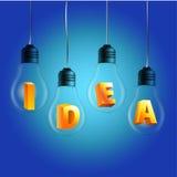 Λέξη ιδέας στους βολβούς με το μπλε υπόβαθρο Στοκ εικόνες με δικαίωμα ελεύθερης χρήσης