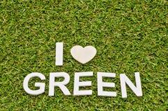 Λέξη ι πράσινο γίνοντα froom ξύλο αγάπης στην τεχνητή χλόη Στοκ Εικόνες