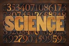Λέξη και αριθμοί επιστήμης στον ξύλινο τύπο Στοκ Εικόνα