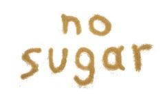 Λέξη καμία ζάχαρη που γράφεται με την καφετιά ζάχαρη Στοκ εικόνα με δικαίωμα ελεύθερης χρήσης